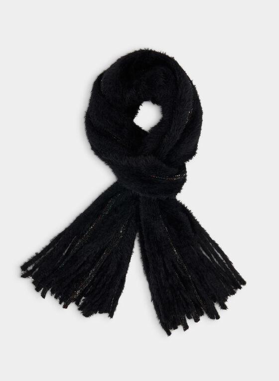 Eyelash Knit Scarf, Black
