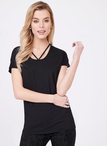 Lace Effect Jersey Top, Black, hi-res