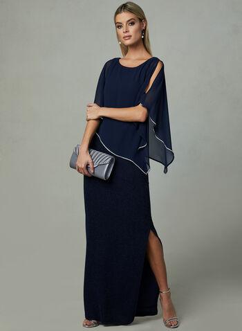 Frank Lyman - Poncho Evening Dress, Blue,