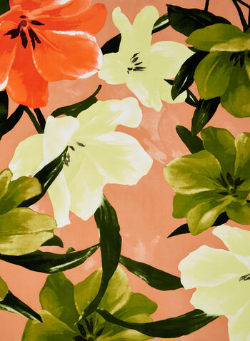 Silk Floral Print Scarf, Orange, hi-res