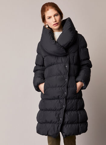 Asymmetrical Down Blend Coat, Black,  coat, down, button front, quilted, 70/30, pockets, water repellant, fall winter 2020