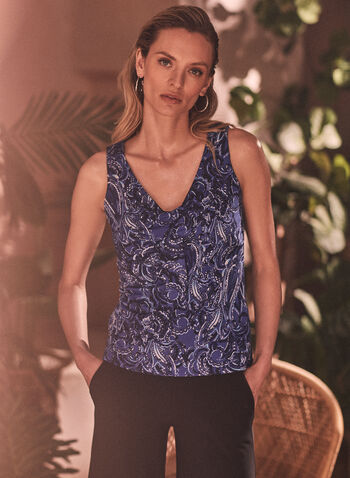 Sleeveless Paisley Print Top, Blue,  spring summer 2021, made in canada, tank top, tops, sleeveless, paisley print, v neck, tied, knot,