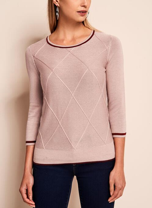 3/4 Sleeve Crew Neck Sweater, Off White, hi-res