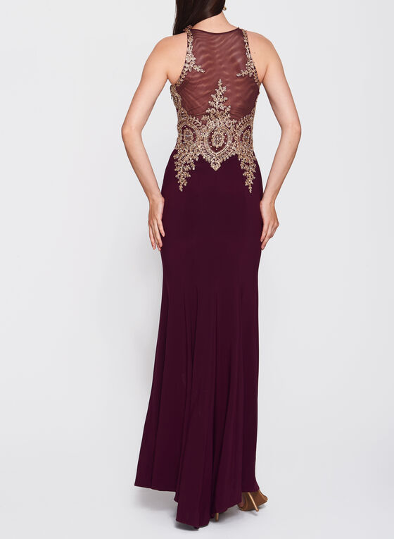 Embellished Appliqué Jersey Gown, Red, hi-res