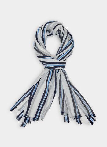 Foulard pashmina rayé , Bleu,  fichu, écharpe, printemps 2019, ligné
