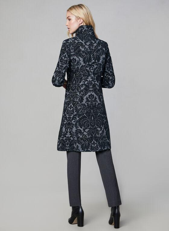 Manteau mi-long à motif tapisserie, Gris, hi-res