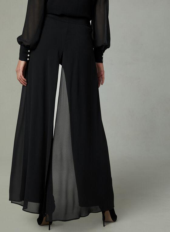 Chiffon Panel Wide Leg Pants, Black