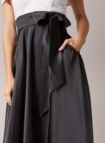 BA Nites - Robe satinée à épaules dénudées, Noir,  robe de soirée, satin, encolure cœur, crêpe, manches courtes, épaules dénudées, ceinture, automne hiver 2020