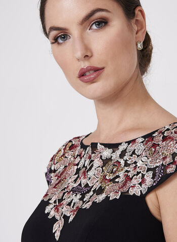BA Nites - Floral Embroidered Jersey Dress, Black, hi-res