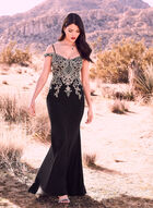 BA Nites - Embroidered Gown, Black, hi-res