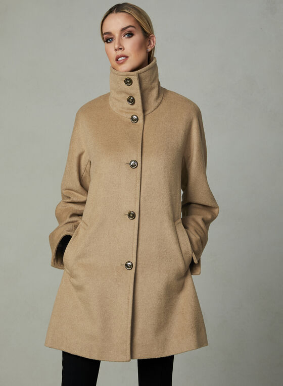 Karl Lagerfeld Paris - Stand Collar Wool Coat, Brown, hi-res
