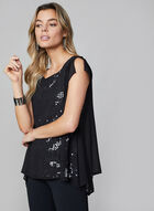 Sleeveless Chiffon & Sequin Blouse , Black