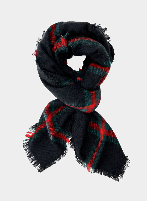 Plaid Print Scarf, Black, hi-res