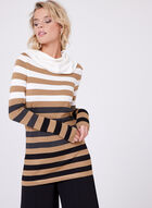 Striped Cowl Neck Tunic Sweater, Brown, hi-res