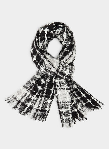 Plaid Blanket Scarf, Black,  fringes, blanket scarf, oblong, acrylic, plaid, tartan, two-toned, fall 2019, winter 2019