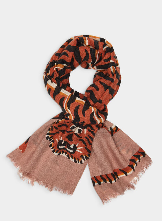 Foulard léger motif tigre, Orange