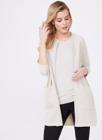 Cape Sleeve Cocoon Cardigan, Off White, hi-res