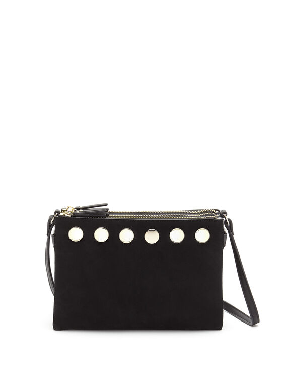 French Connection - Faux Suede Crossbody Bag, Black, hi-res