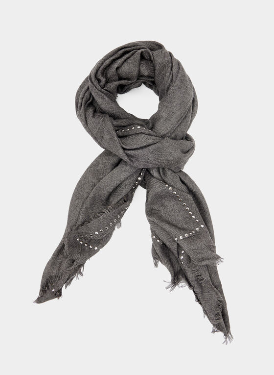 Studded Oblong Scarf, Grey, hi-res