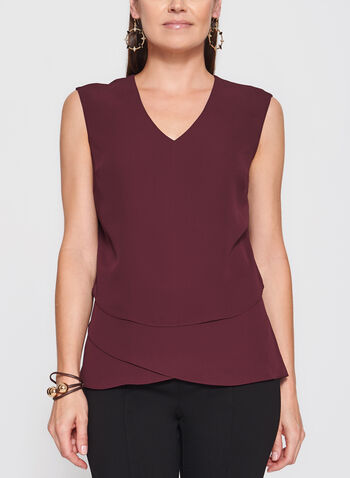 Sleeveless Triple Layer Blouse, Red, hi-res