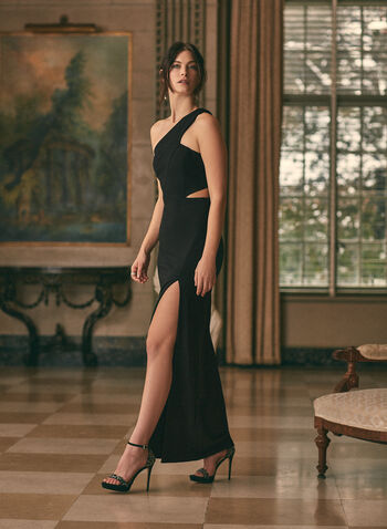 BA Nites - One-Shoulder Crepe Gown, Black,  prom dress, gown, column, one-shoulder, faux wrap, slit, crepe, stretchy, spring summer 2021