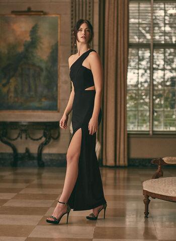 BA Nites - Robe fourreau à une épaule dénudée, Noir,  robe de bal, col asymétrique, fourreau, épaule dénudée, jersey, fente, découpe, printemps été 2020
