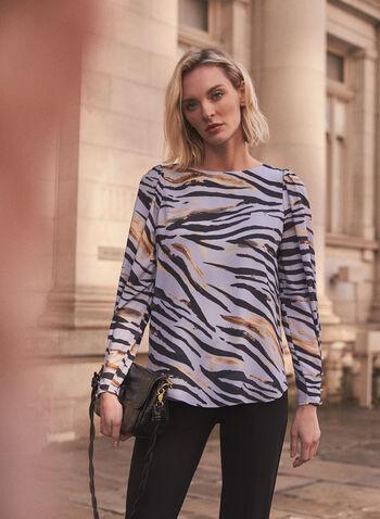 Animal Print Long Sleeve Blouse, Blue,  blouse, long sleeves, crepe, animal print, boat neck, fall winter 2020