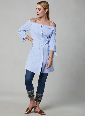 Stripe Print Belted Tunic, Blue, hi-res