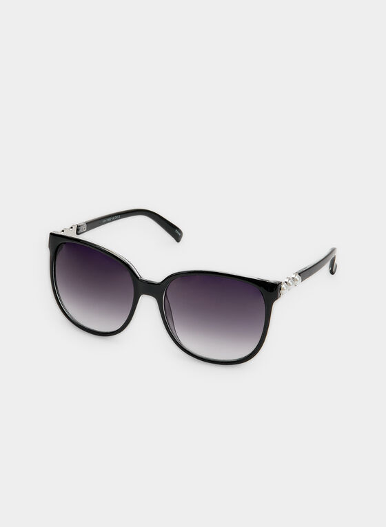 Pearl Detail Sunglasses, Black, hi-res