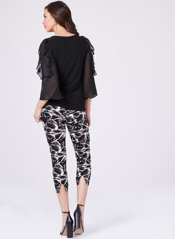 Chiffon Bell Sleeve Jersey Top, Black, hi-res