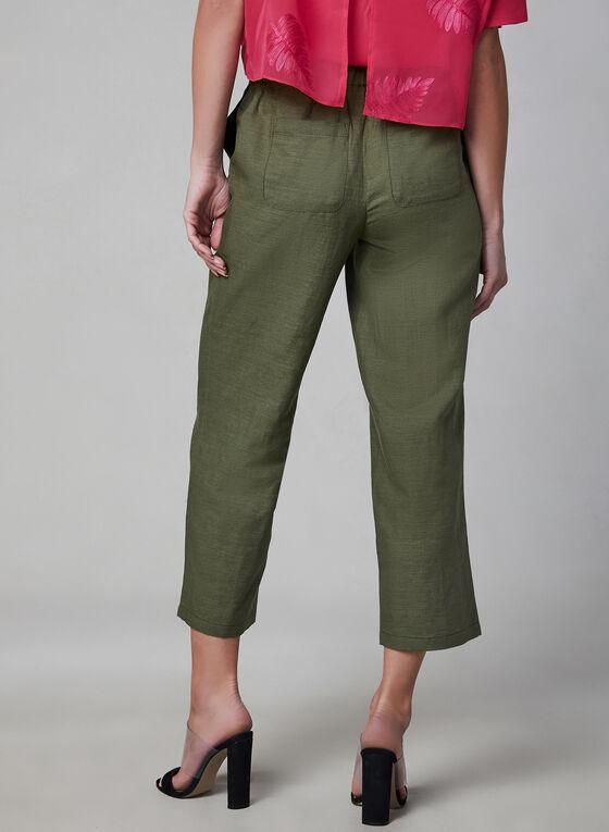 Pull-On Linen Culottes, Green, hi-res