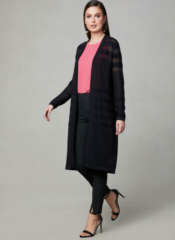 Ribbed Open Front Cardigan, Black, hi-res,