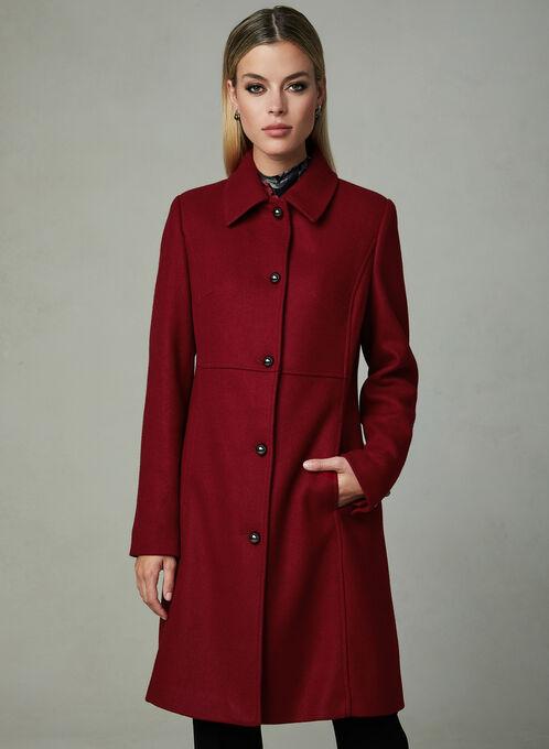 Novelti - Lapel Collar Semi Fitted Coat, Red, hi-res