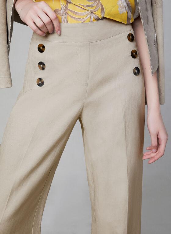 Pantalon en mélange de lin et boutons, Blanc cassé, hi-res