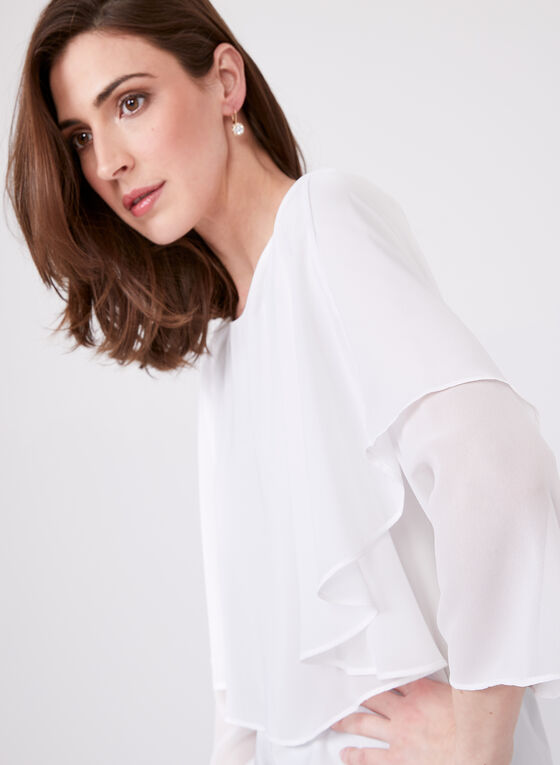 ¾ Sleeve Capelet Blouse, Off White, hi-res