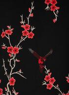 Floral Print Reversible Scarf, Black