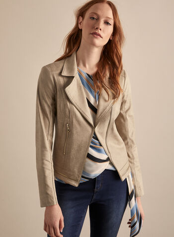 Vex - Zipper Detail Faux Leather Blazer, Brown,  blazer, notch collar, faux leather, long sleeves, zipper, spring summer 2020