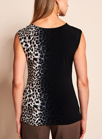 Haut drapé sans manches à motif léopard, Blanc, hi-res