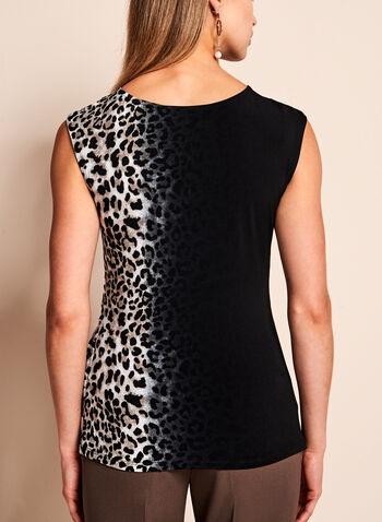 Leopard Print Side Tuck Jersey Blouse, White, hi-res