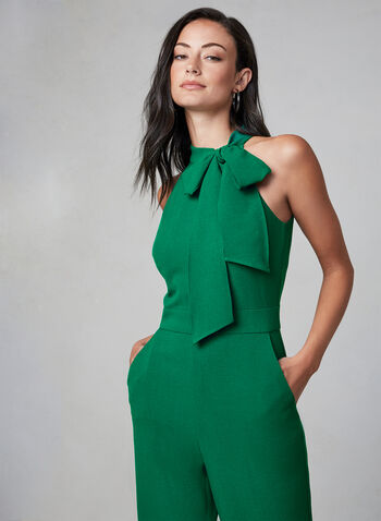 Vince Camuto - Halter Neck Jumpsuit, Green,  fall winter 2019, jumpsuit, sleeveless, halter, vince camuto