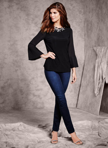 3/4 Sheer Bell Sleeve Blouse , Black, hi-res