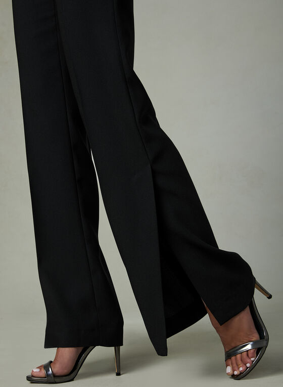 Slit Wide Leg Crepe Pants, Black, hi-res