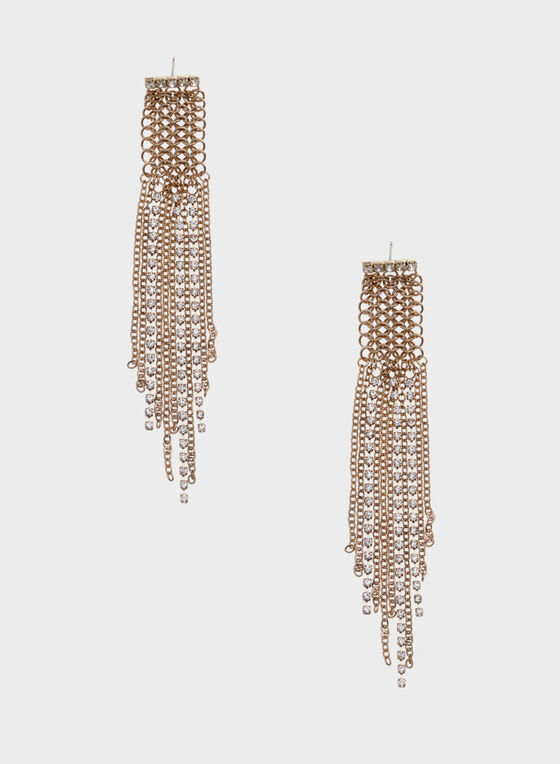 Mesh Chain Earrings, Gold, hi-res