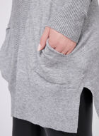 Cowl Neck Knit Tunic, Grey, hi-res