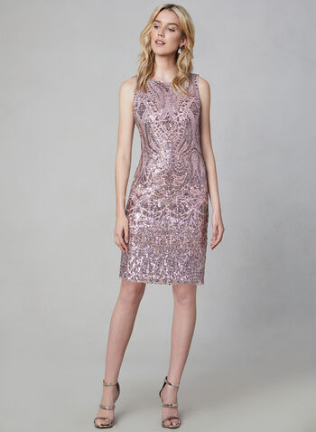 Vince Camuto - Sequin Sheath Dress, Pink, hi-res,  Vince Camuto, sheath, cocktail dress, sleeveless, sequin, exposed zipper, fall 2019, winter 2019