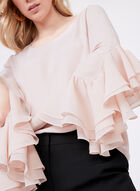 Ruffle Bell Sleeve Blouse, Pink, hi-res