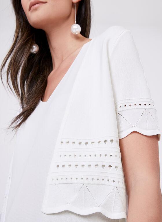 Alison Sheri - Pointelle Detail Bolero, White, hi-res
