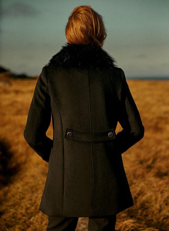 Wool Blend Button Detail Coat, Black