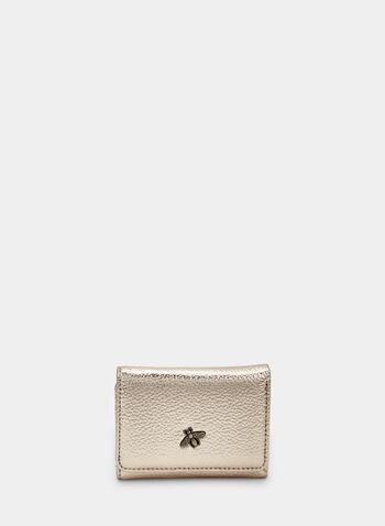 Metallic Wallet, Gold,  wallet, metallic, accessories, metallic wallet, bee, charms, fall 2019, winter 2019