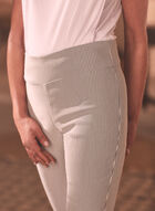 Stripe Print Pull-On Capris, Grey